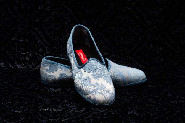 pantofola azzurro con ricami donna nicolao atelier